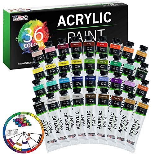 U.S. Art Supply Professional 36 Color Set of Acrylic Paint in Large 18ml Tubes - Rich Vivid Colors for Artists, Students, Beginners - Canvas Portrait Paintings - Color Mixing Wheel