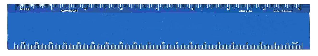 Alumicolor 1108-5 Aluminum Desk Ruler, 8IN, Blue