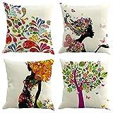 Funda cojín 45*45 cm juego de 4, fundas de cojines de lino para cojines sofa, cojines decorativos para sofa, funda cojin estampado con patrón floral de forma femenina (Floral Woman, 45*45cm)