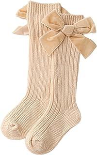 DODOYA, Calcetines de punto para recién nacidos hasta la rodilla con lazos, calcetines largos de tubo de algodón