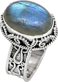 YoTreasure Blue Fire Labradorite Solid 925 Sterling Silver Ring