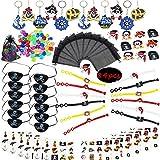 Kit de faveur de partie de pirate anneaux de chaîne principale de pirate bracelets tatouages capitaine correctifs yeux sac cadeau pirates trésor en organza pour sac de fête d'anniversaire pour enfants