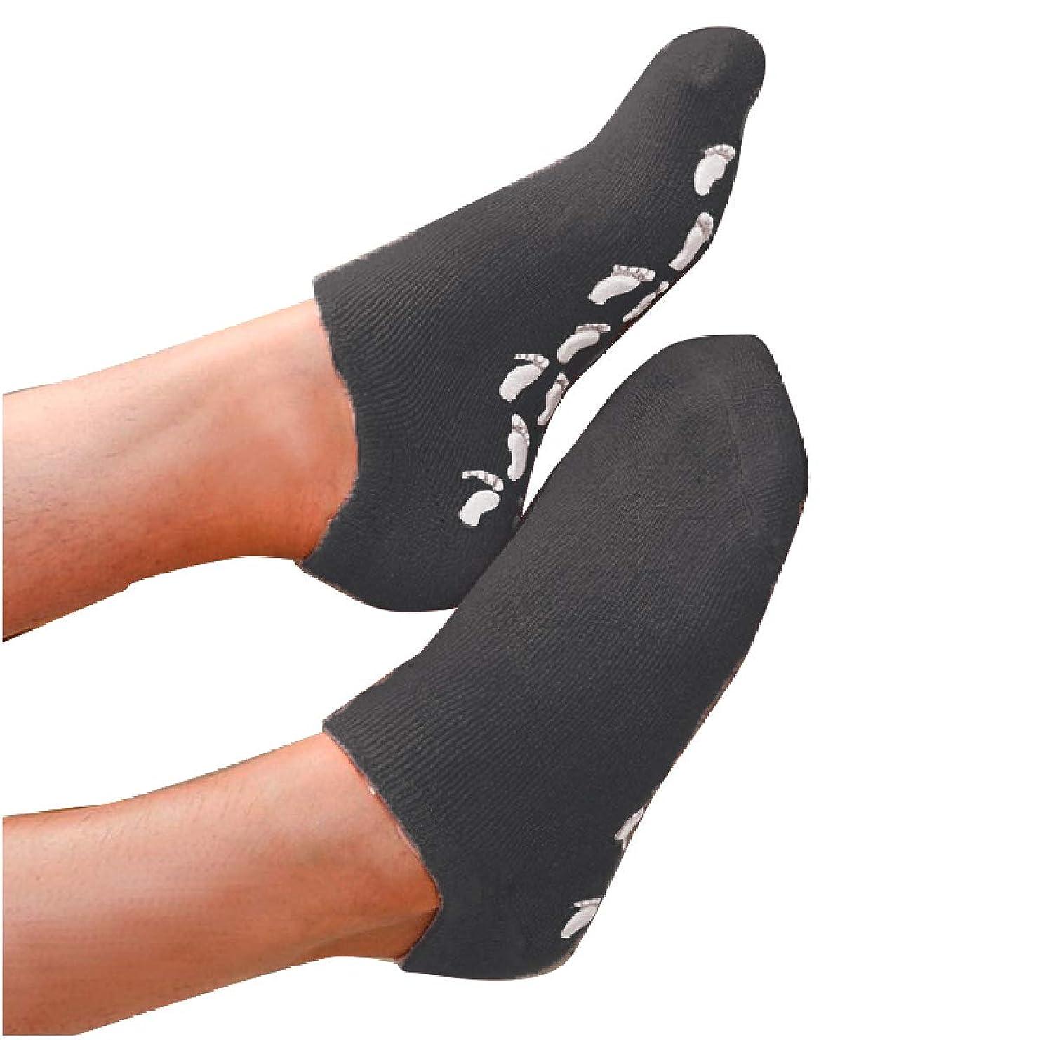 ファーザーファージュ自治的悲しいS&E かかと 靴下 保湿 ソックス 美容成分 潤い ゲル付き 滑り止め 足裏 足の甲 ホホバオイル グレープシード ビタミンE ラベンダー ローズ (ブラック)
