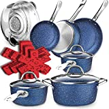 Dealz Frenzy Stone Ultra Non-Stick Induction Cookware Set, 16 Pieces Marble Mineral Coating Pots and Pans Set, Thanksgiving Day, Stainless Steel Handle,Durable,Scratch Resistance,Dishwasher/Oven Safe