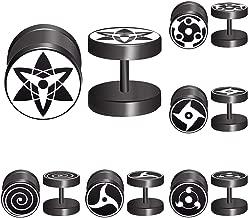 FLYUN 6 Pairs Black Stud Earrings Naruto Eye Fake Piercing Expander Stretcher Men Women Faux Gauges Fake Punk Ear Tunnel