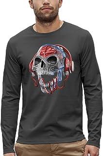 Koszulka z długim rękawem CZASZKA SŁUCHAWKI DJ PRZEZROCZYSTY - PIXEL EVOLUTION - Mężczyzna