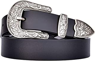 TALLEFFORT Ladies Vintage Western Leather Belts for Women Genuine Leather Belt
