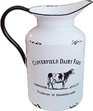 CVHOMEDECO. Primitive Rustic Galvanized Tin Milk Can with Handle, Primitives Metal Jug Vase for Home and Garden Decor., Vi...