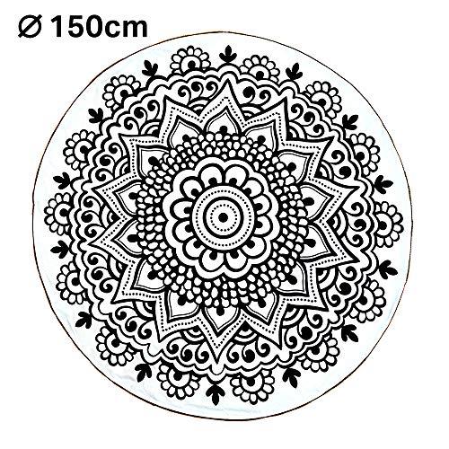 somewill Moderne Tischdecke rund aus Baumwolle 150 cm Durchmesser weiß/schwarz im Mandala Stil