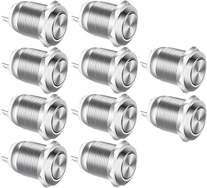 360 opinioni per Gebildet 10Pcs 12mm Acciaio Inossidabile 2A 12V-24V-125V-250V Pulsante