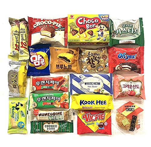 Ambiguous Korean Snack Box Variety 20 Snacks Individual Wrapped Essentials Sample Packs of Candy, Snacks, Chips, Cookies, Treats for Kids, and Adults. Asian Snacks by Unha's Asian Snack Box