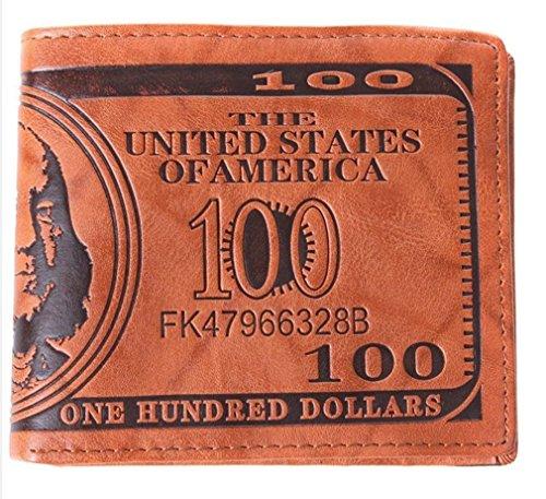 Dollaro Fattura Soldi Pelle Bifold Portafoglio Carta Di Credito Divertente Coin Purse Tasche Per La Mens (luce marrone)