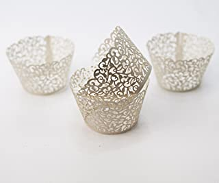 Cupcake Wrappers 12 Pack Premium Laser Cut to add a touch of elegance to any social gathering. They will make your dessert display the centerpiece of your event. Made of 200 g Ivory Pearl Paper