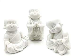 Bellaa 21178 Baby Buddha Statues Set of 3 Jizo Monks 3 inch