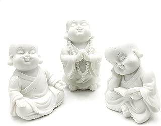 Bellaa 21178 Baby Buddha Statues Set of 3 Jizo Monks 3 inch