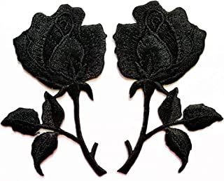 PP Patch Deep Black Rose Flower Pair Flowers Floral Retro Boho Love DIY Embroidered Appliques Iron-on Patches Jacket Jeans Dress Shoes Bags Clothings