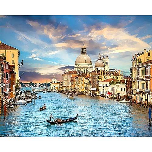 Italia pintura por números Roma DIY pintura digital por número moderno arte de la pared lienzo acrílico pintado regalo único decoración del hogar A8 60x80cm
