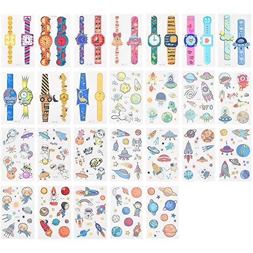 Pegatina de tatuaje para niños, 26 hojas de tatuaje para niños con diferentes patrones para fiesta, tatuaje de fiesta impermeab
