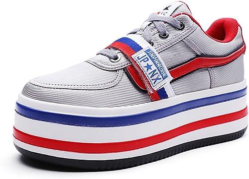 Sandales Nouveau été baskets Version Coréenne Sauvage Chaussures à Plateforme Chaussures à Plateforme Soulèvement des Chaussures Harbour Vent Chaussures (Couleur   rouge, Taille   37)