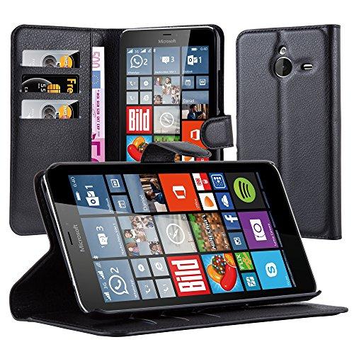 Cadorabo Custodia Libro per Nokia Lumia 640 XL in Nero Carbone - con Vani di Carte, Funzione Stand e Chiusura Magnetica - Portafoglio Cover Case Wallet Book Etui Protezione