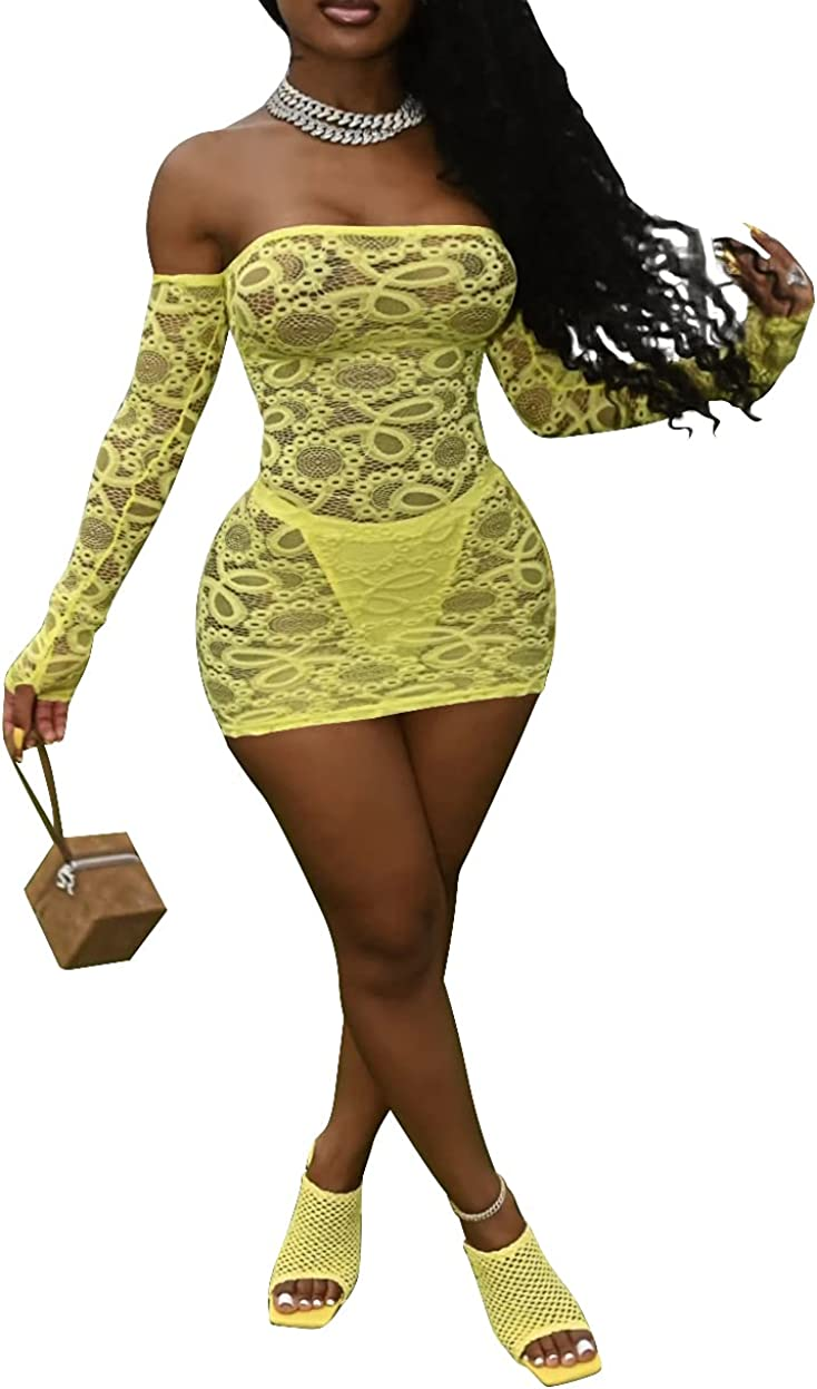 Remelon Womens Sexy Mesh See Through Mini Club Dress Off Shoulder Long Sleeve Bodycon Party Dresses with Panties