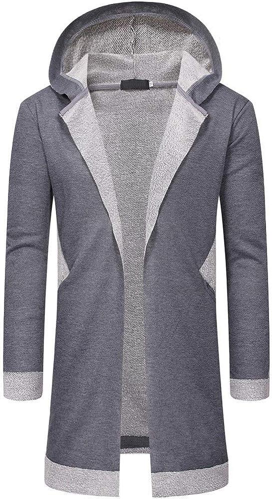MODOQO Men's Long Cardigan Hoodies Jacket Loose Fit Sweatshirts Trench Outwear