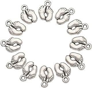 Kissitty 100pcs Tibetan Silver Alloy Charms Pendants Foot Print Charms 14x10mm 0.6x0.4