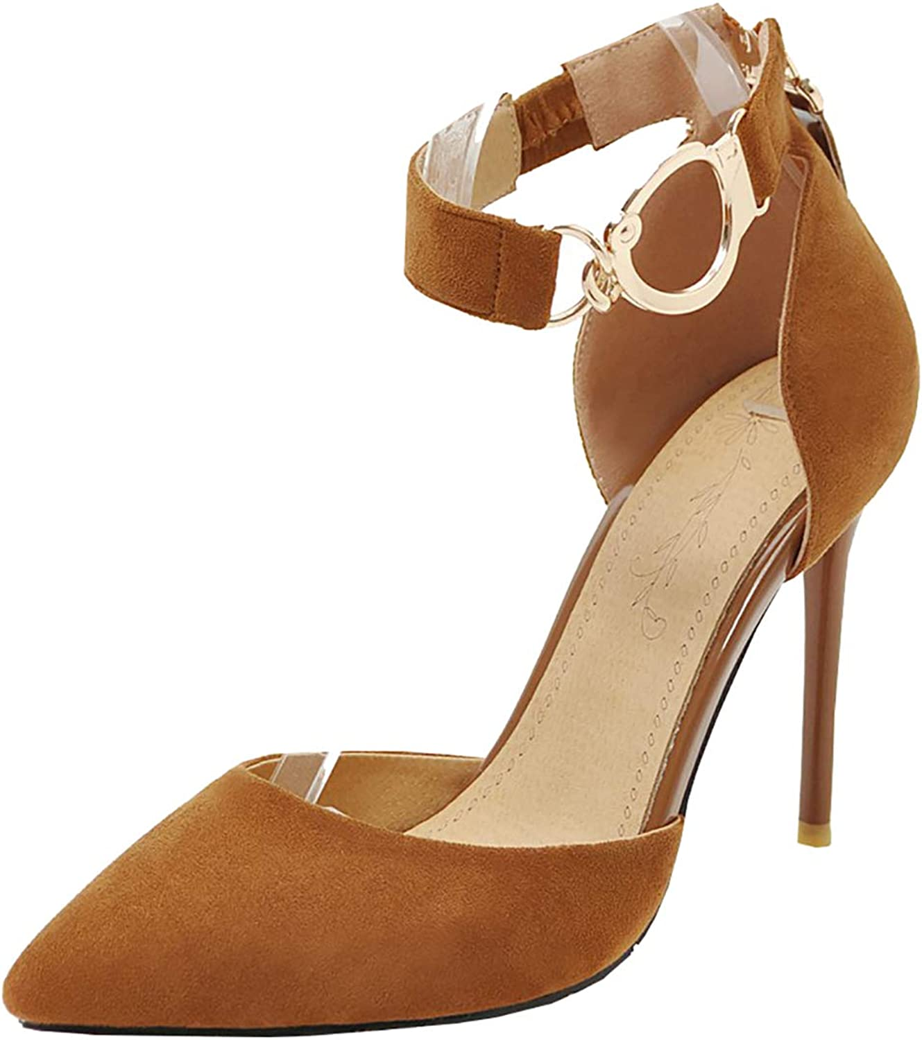 Artfaerie Womens Stiletto High Heel Pointed Toe Ankle Strap Thin Heels Pumps Sexy Court shoes with Mental Buckle