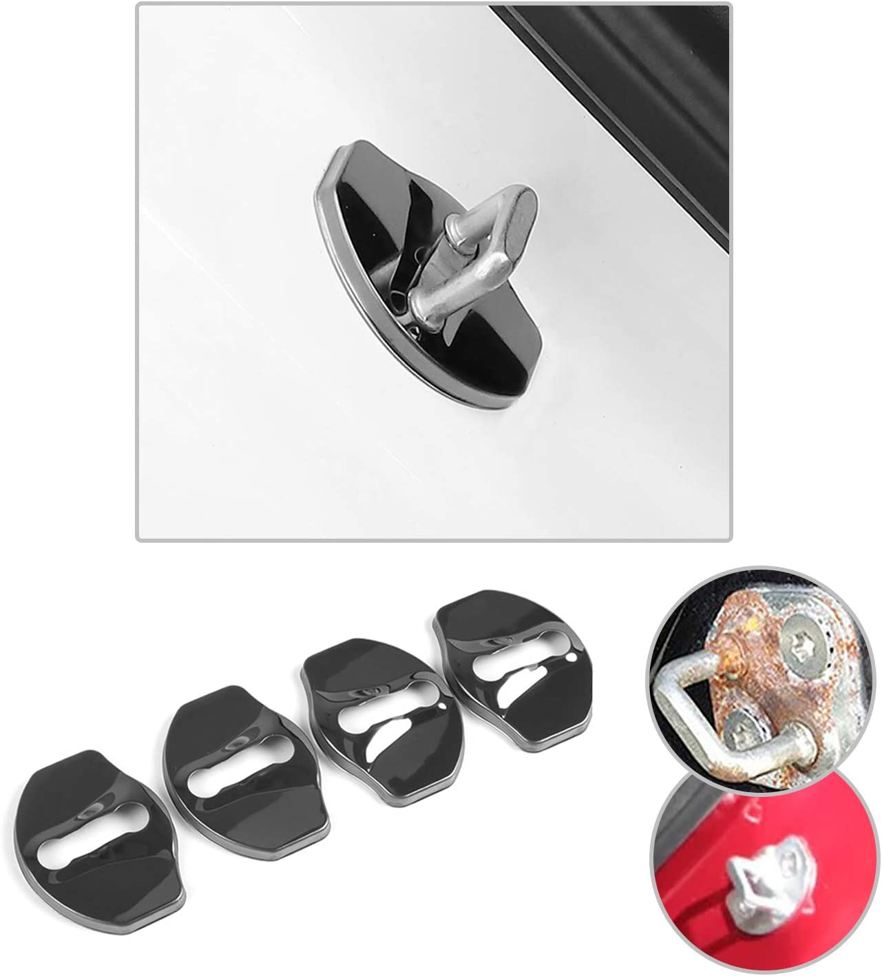 CDEFG 4 PCS Car Stainless Steel Door Locks Protective Cover for Model 3 Auto Interior Protection Black