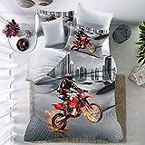 THEE 3D Moto avec housse de couette Parure de lit avec housse de couette Taie d'oreiller (Queen, 2)