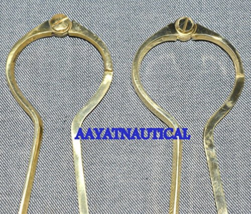 Safa Nautical Lot-Of-2 Aayat Nautical Messing-Einhand-Divider mit Ledereinband, runder Trennwand C