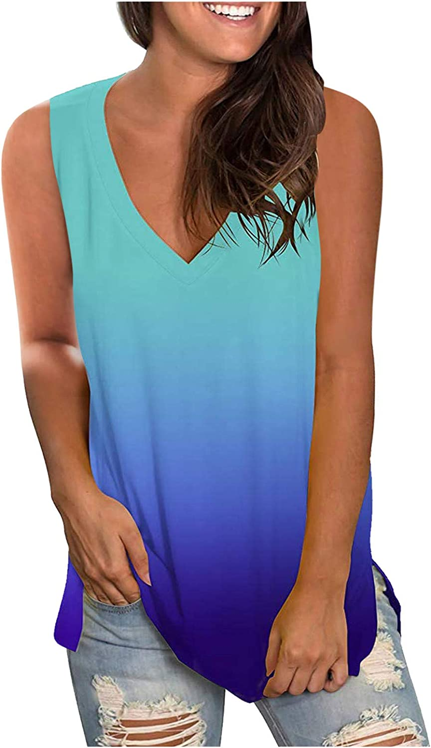 Tank Tops for Women, Womens Summer Tops Floral Print V Neck Sleeveless T-Shirts Casual Blouse Plus Size Tunics
