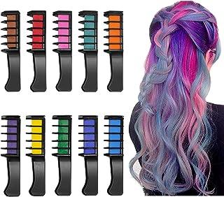 Peine de Tiza Para el Pelo, 10 Colores Lavables Tinte para Cabello, Color de pelo Temporal Hair Chalk Set para Niños Regalos Navidad Fiestas Cosplay DIY