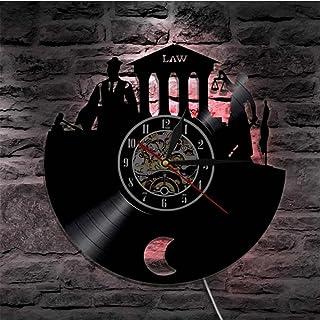 法の真実の壁の芸術の弁護士のオフィスの裁判官の裁判所の装飾の壁の時計の法律の女性のスケールの正義のビニールの記録の壁の時計の導かれた常夜灯の弁護士