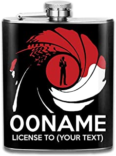 Licenza James Bond 007 Personalizzata Per Il Tuo Testo Stampa Fiaschetta Tasca Bottiglia Flagon Flagon Portatile In Acciaio Inossidabile 7OZ