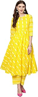 GoSriKi Women's Kurta and Yellow Printed Palazzo