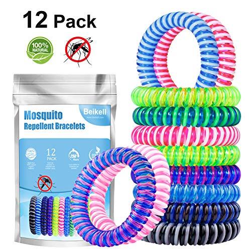 Beikell Mückenschutz Armband [12 Stück], Anti Mücken Moskito Armband, Natürliche Mückenarmband für Kinder, Erwachsene, Reisen, Camping, Outdoor