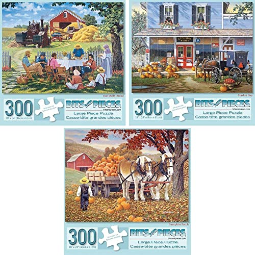 Bits and Pieces - Set of Three (3) 300 Piece Jigsaw Puzzles for Adults - Classic American Country Scenes - 300 pc Market Day, Pumpkin Patch, Our Daily Bread Jigsaws by Artist John Sloane