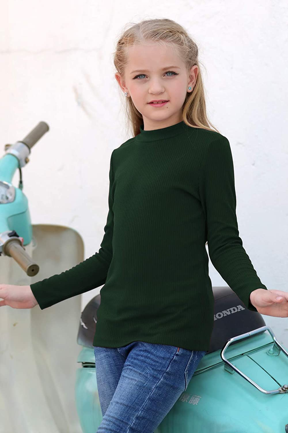 GORLYA Girls Long Sleeve Soft Knit Mock Turtleneck Slim Fit Pullover Sweater Top for 4-14T Kids