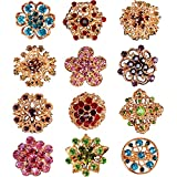12 Broches de Cristal Adornos de Botones de Cristal Alfiler de Broche de Flor Kit de Ramillete de Diamantes de Imitación para Decoración de Boda de Mujer (Multicolores)