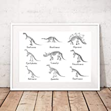 GUDOJK Wall paintings Dinosaur Chart List Boys Wall Art Print and Poster Dinosaur Species Paleontology Canvas Painting for Kids Room Decoration-60x80cm