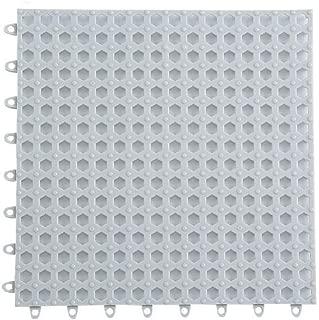 "Set of 6 Interlocking Bathroom Rubber Flooring Tiles, 11.8"" Non-Slip Bath Mat with Drain Holes and Drainage Column for Kitchen Bathroom Swimming Pool Balcony, Gray"