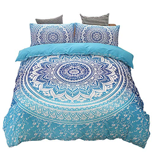 Mandala Flower Duvet Cover Set, Bedding Sets Soft Microfiber Comforter Cover, Chic Round Bohemian Pattern Quilt Cover with Zipper Closure (Blue, 3pcs, King Size)