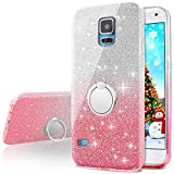 Galaxy S5 Case,Silverback Girls Bling Glitter Sparkle Cute Phone Case with 360 Rotating Ring Stand, Soft TPU Outer Cover + Hard PC Inner Shell Skin for Samsung Galaxy S5 -Pink
