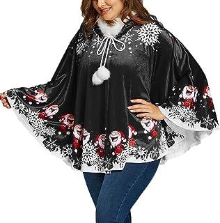 GREFER Christmas Costumes Women Warm Santa Claus Snowflake Print Pocket Caps Tops Sweatshirts