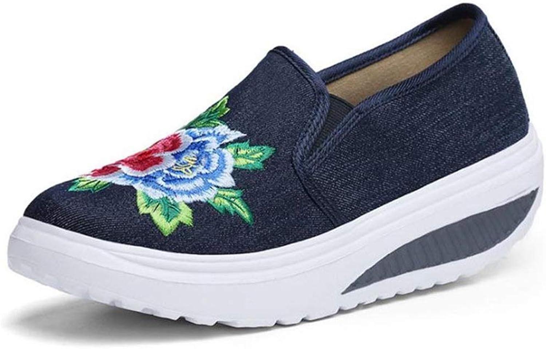 Btrada kvinnor kvinnor kvinnor mode Flower Print Slip on Casual skor Ladies Big Storlek Flat Cloth skor  Njut av att spara 30-50% rabatt