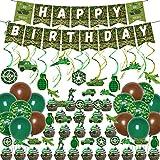 Kreatwow Decoraciones para fiesta de cumpleaños de camuflaje, globos de camuflaje verde, pancartas, adornos para cupcakes para niños, niñas, adultos, veteranos
