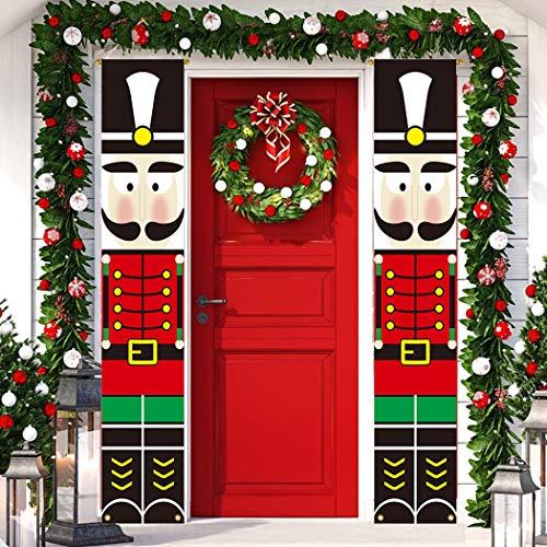 Qiamni Lot de décorations de Noël pour intérieur ou extérieur avec bannières pour porte d'entrée, porche, jardin Modèle soldat Casse-noisette