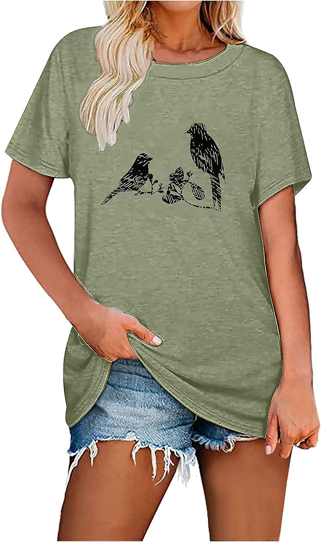 Award Graphic Shirts for Finally popular brand Women Birds Print Sleeve Lo Tops Casual Short
