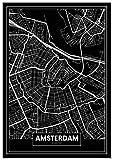 Panorama Poster Karte Schwarz von Amsterdam 50 x 70 cm -